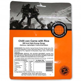 Repas lyophilisés Ravitail CHILI CON CARNE AU RIZ EXPEDITION FOODS 800 Kcal.-SANS GLUTEN-EXPEDITION FOODS-004-0212-9,90 €