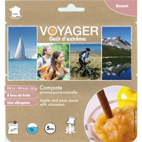 COMPOTE POMME POIRE CANELLE VOYAGER.180 kcal.-VÉGAN-VOYAGER-B123F-4,10 €