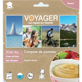 COMPOTE POMME VOYAGER.191 kcal.-VÉGAN-VOYAGER-B122F-3,70 €