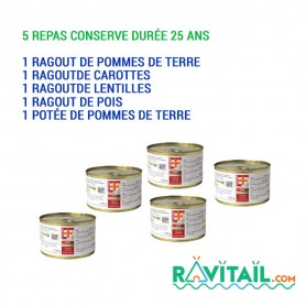 LOT DE 5 CONSERVES EF EMERGENCY FOOD EF EMERGENCY FOOD